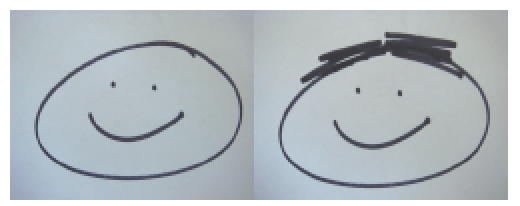 Drawing of two smiling faces